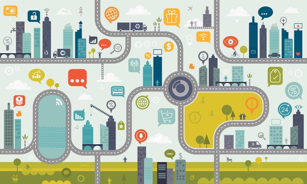 Using Internet Endless Pattern Concept. Vibrant illustration including large icon set.